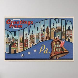 Philadelphia, Pennsylvania - Large Letter Poster