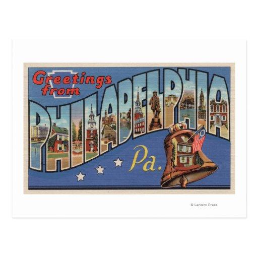 Philadelphia, Pennsylvania - letra grande Tarjeta Postal