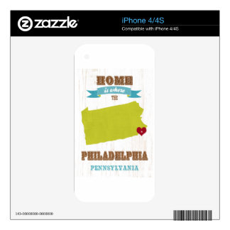 Philadelphia, Pennsylvania Map – Home Is Where The Skins For iPhone 4S