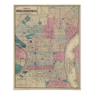 Philadelphia, Pennsylvania Map Poster