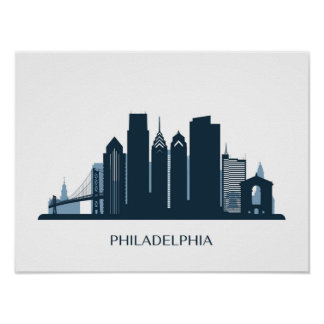Philadelphia, Pennsylvania | Monochromatic City Poster