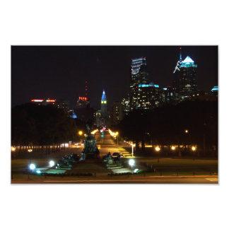 Philadelphia Pennsylvania Skyline at Night Photo Print