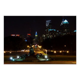 Philadelphia Pennsylvania Skyline at Night Poster