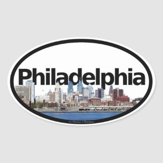 Philadelphia, Pennsylvania Skyline Oval Sticker