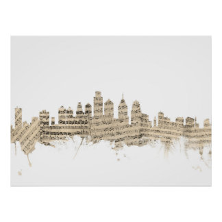 Philadelphia Pennsylvania Skyline Sheet Music City Poster