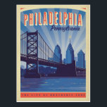 "Philadelphia, Pennsylvania | The City Of Brotherly Postcard<br><div class=""desc"">Anderson Design Group is an award-winning illustration and design firm in Nashville,  Tennessee. Founder Joel Anderson directs a team of talented artists to create original poster art that looks like classic vintage advertising prints from the 1920s to the 1960s.</div>"