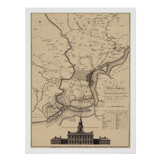 Philadelphia Plan Map - 1777 Poster