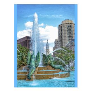 Philadelphia Postcard-City Hall-Swann Fountain Postcard