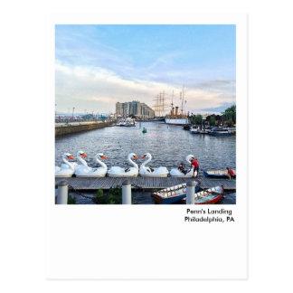 Philadelphia Postcard-Penn's Landing Swan Boats Postcard