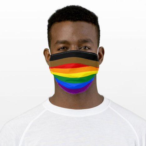 PHILADELPHIA RAINBOW FLAG BLACK & BROWN INCLUSION ADULT CLOTH FACE MASK