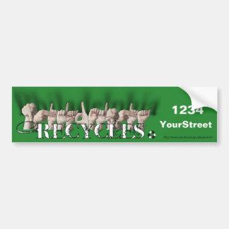 Philadelphia Recycles (fingerspelled) Car Bumper Sticker