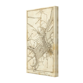 Philadelphia Road Map Gallery Wrapped Canvas