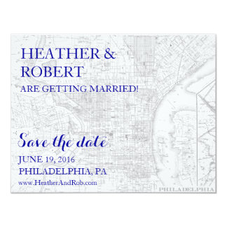 Philadelphia Save the Date - Vintage Map (gray) Card