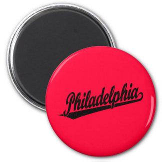 Philadelphia script logo in black distressed 2 inch round magnet