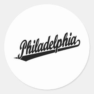 Philadelphia script logo in black classic round sticker