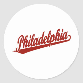 Philadelphia script logo in red classic round sticker