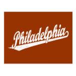 Philadelphia script logo in white distressed postcards