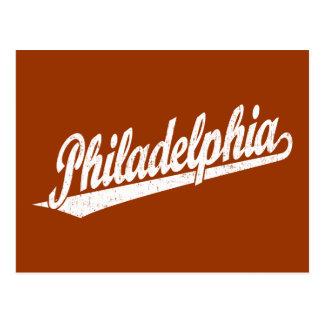 Philadelphia script logo in white distressed postcard