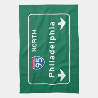 Philadelphia, señal de tráfico del PA Toalla De Cocina