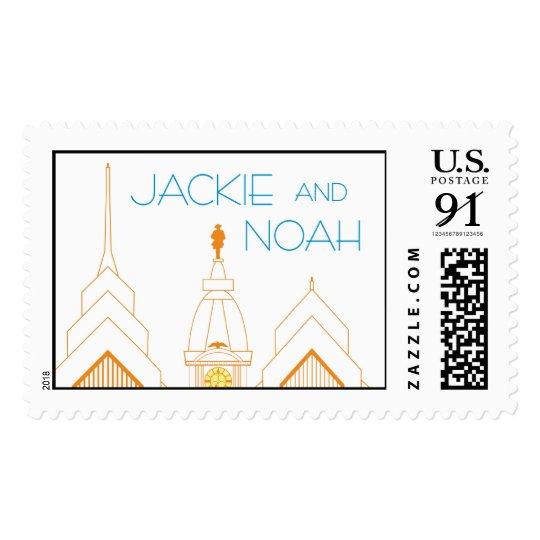 Philadelphia skyline art deco stamp