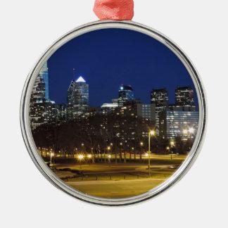 Philadelphia Skyline at Dusk Metal Ornament