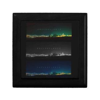 Philadelphia skyline at night. keepsake box