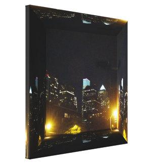 Philadelphia Skyline At Night - Mirror Box Canvas Print