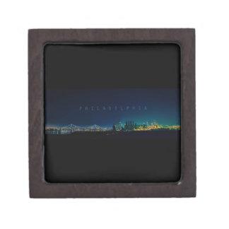 Philadelphia skyline at night. premium gift boxes
