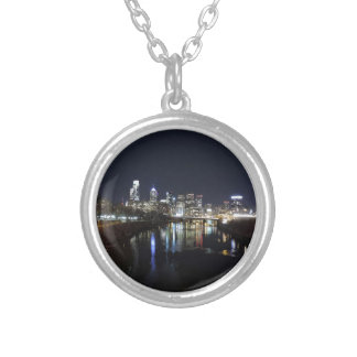 Philadelphia Skyline at Night Silver Plated Necklace