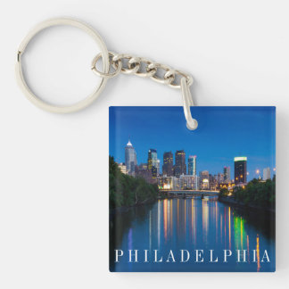 Philadelphia Skyline at Night Souvenir Key Chain