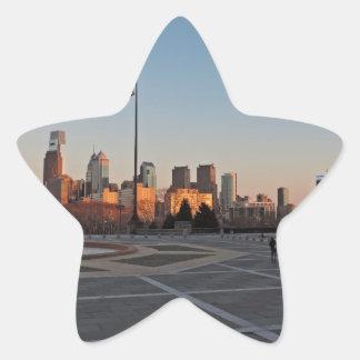 Philadelphia Skyline at Sunset Star Sticker