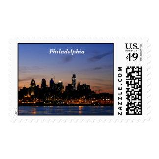 Philadelphia Skyline at Twilight Postage