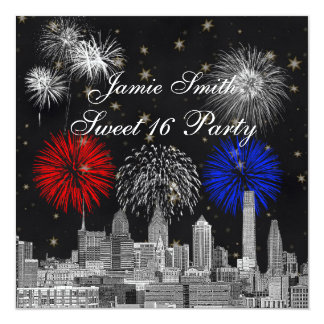 Philadelphia Skyline Black Gold Star Sweet 16 FW Invitation