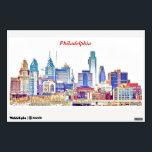 """Philadelphia Skyline Color Sketch Wall Decal<br><div class=""""desc"""">Philadelphia skyline,  shown as a color sketch.</div>"""