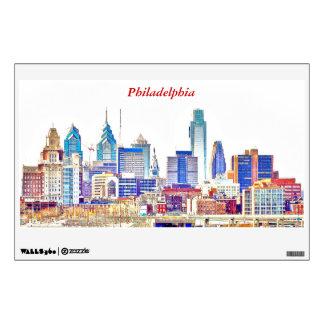 Philadelphia Skyline Color Sketch Wall Decal