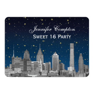 Philadelphia Skyline Etch Blue Starry Sweet 16 H Card