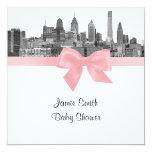 Philadelphia Skyline Etch BW Pink Baby Shower 5.25x5.25 Square Paper Invitation Card
