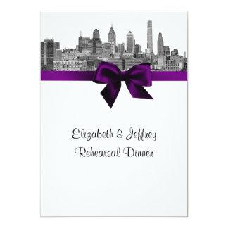 Philadelphia Skyline Etch BW Purp V Rehearsal Personalized Invites