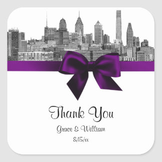 Philadelphia Skyline Etch BW Purple Favor Tag