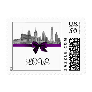 Philadelphia Skyline Etch BW Purple LOVE small Postage