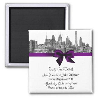 Philadelphia Skyline Etch BW  Purple Save the Date Magnet
