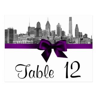 Philadelphia Skyline Etch BW Purple Table Number Postcard