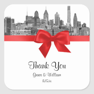 Philadelphia Skyline Etch BW Red Favor Tag