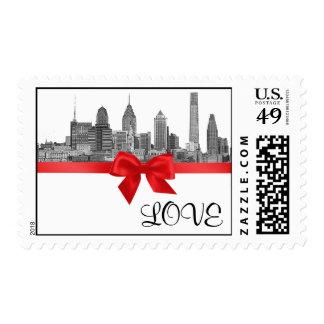 Philadelphia Skyline Etch BW Red LOVE Postage