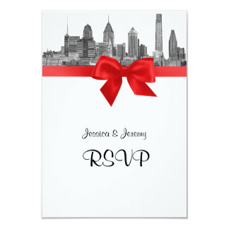 Philadelphia Skyline Etch BW Red RSVP #2 Card