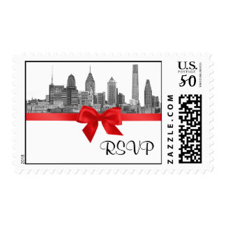 Philadelphia Skyline Etch BW Red RSVP Postage