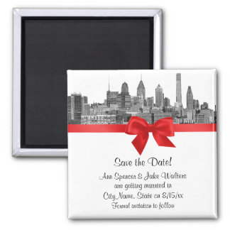 Philadelphia Skyline Etch BW Red Save the Date 2 Inch Square Magnet
