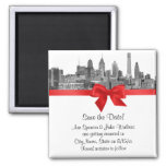 Philadelphia Skyline Etch BW Red Save the Date Fridge Magnets