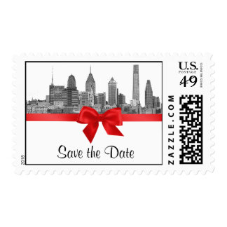 Philadelphia Skyline Etch BW Red Save the Date Postage