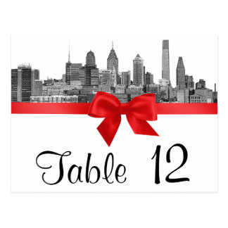 Philadelphia Skyline Etch BW Red Table Number Postcard